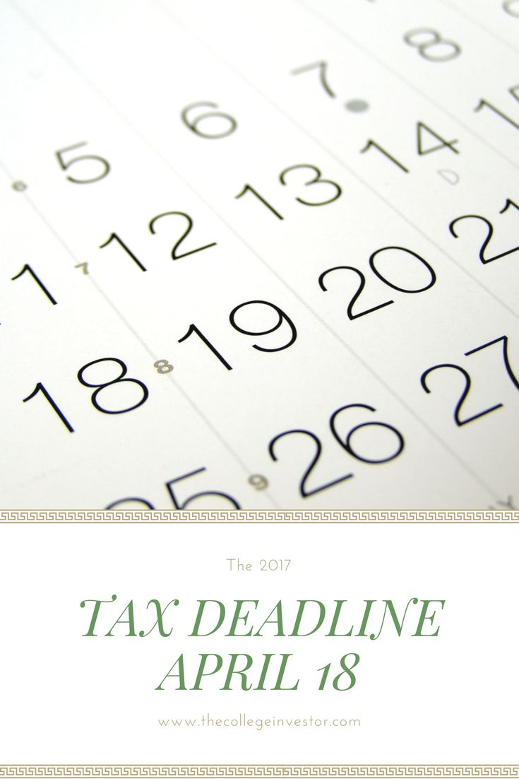 The tax deadline this year is much later than usual. You can file your taxes until Tuesday April 18, 2017 this year. via @collegeinvestor