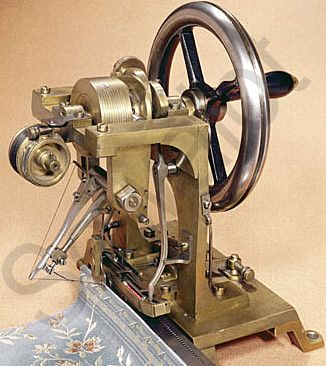 ELIAS HOWE,  1846   INVENTOR OF THE SEWING MACHINE  the second of his hand built machines.  Needle was set in a horizontal position.
