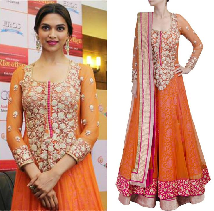 Deepika Padukone looks stunning in the orange sheer layered anarkali lehenga by SVA.