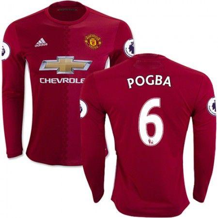 Manchester United 16-17 Paul #Pogba 6 Hjemmebanetrøje Lange ærmer,245,14KR,shirtshopservice@gmail.com