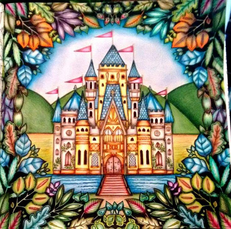 Castle Leaves Enchanted Forest Castelo Floresta Encantada Johanna Basford Adult ColoringColoring BooksJohanna