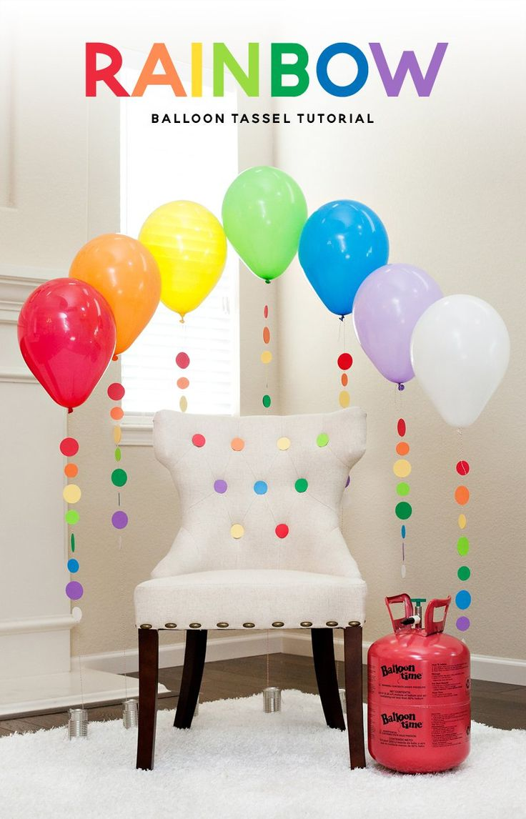 Rainbow Balloon Tassels and Party Chair - DIY Tutorial & Video                                                                                                                                                     More
