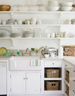 White kitchen with open shelving google search kitchen for Off the shelf kitchen units