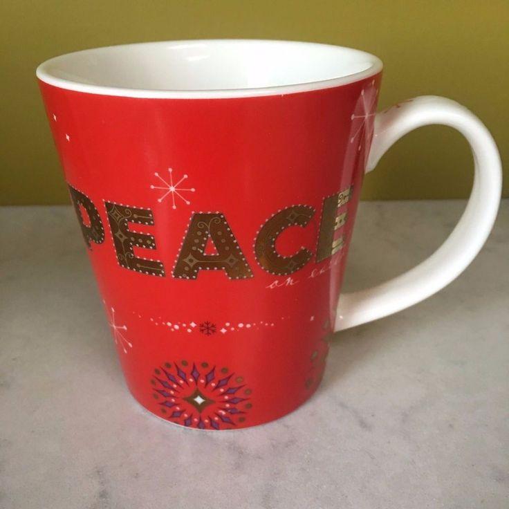 Starbucks Holiday Mug 2006 Peace on Earth Red Gold White Christmas #Starbucks