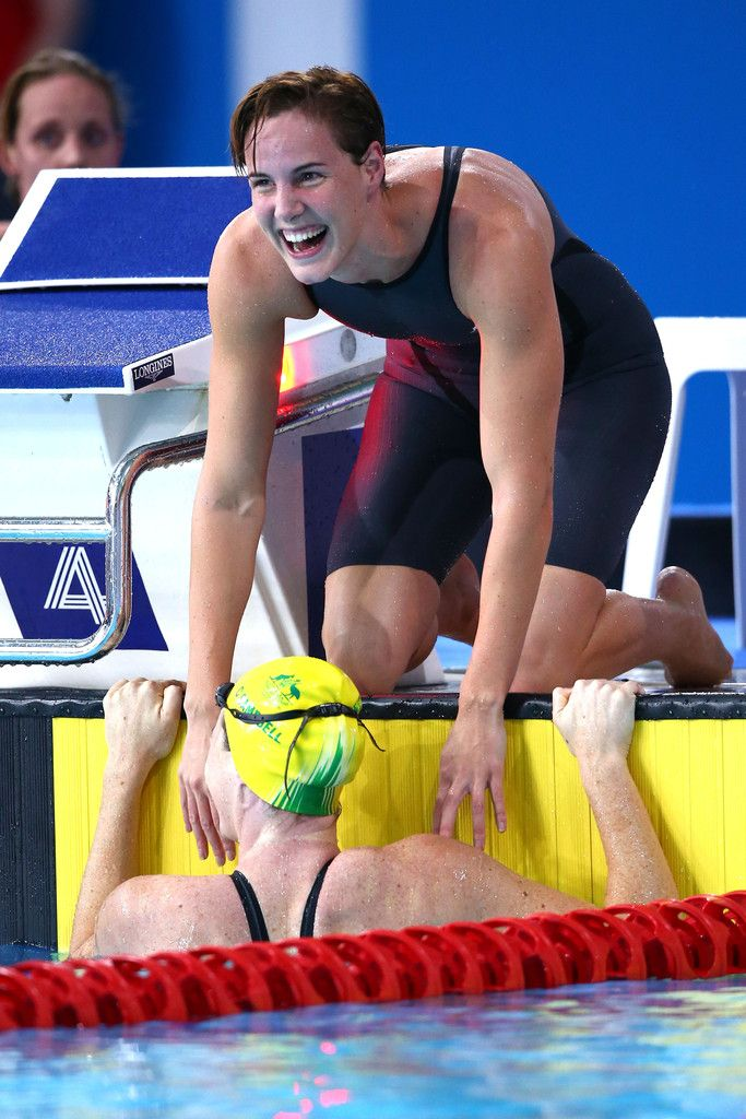 Cate Campbell of Australia is congratulated by Bronte Campbell (top)