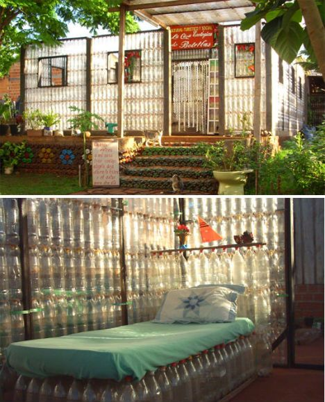 Home made entirely out of recycled materials by The Alfredo Santa Cruz family of Puerto Iguazu, Argentina