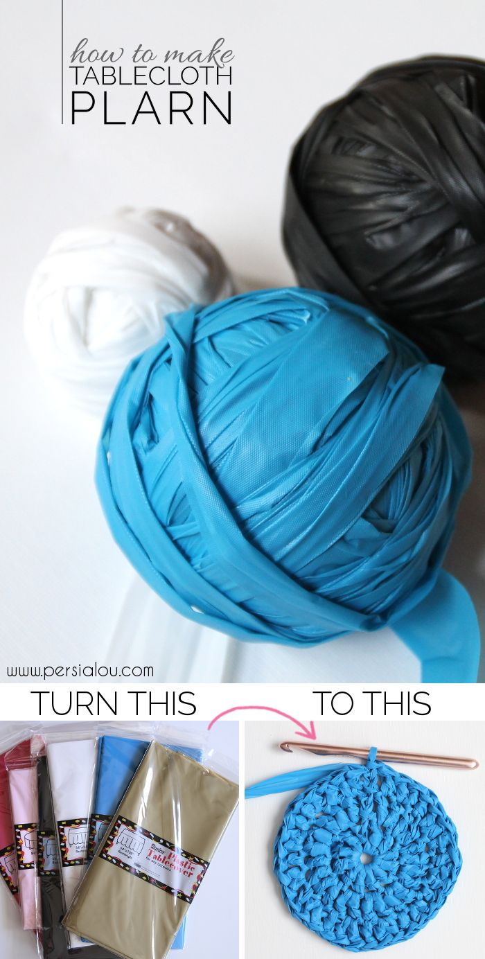 How to Make Tablecloth Plarn - turn old plastic tablecloths into yarn that can be crocheted into cute baskets and bags!
