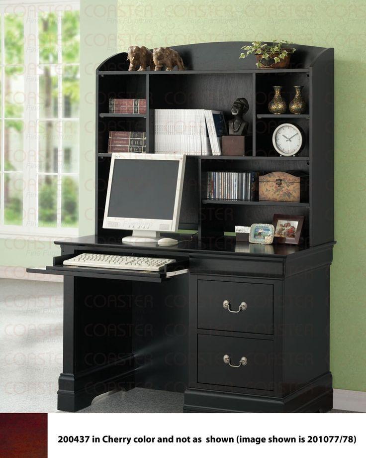 coaster louis philippe single pedestal computer desk in black