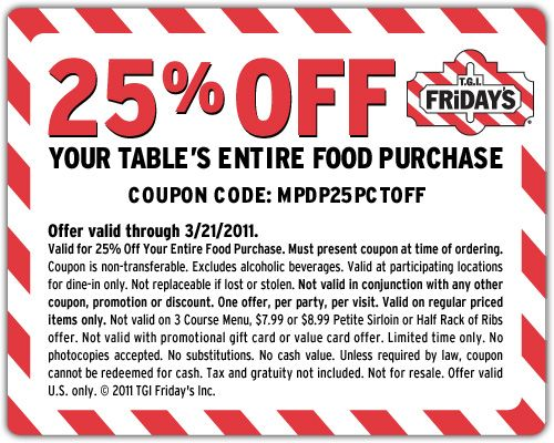 Fridays online coupons 2018