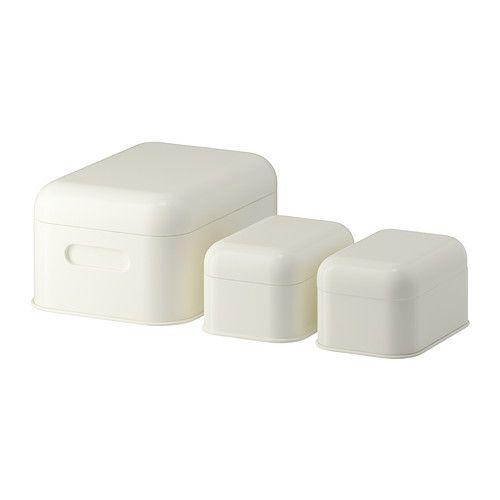 IKEA - SNIKA, Set di 3 scatole con coperchio, bianco, , Ideali per riporre gli oggetti che devono essere protetti dalla luce diretta del sole, per esempio, fotografie e ritagli di giornale.