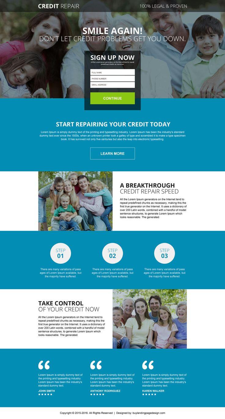 legal and proven credit repair responsive landing page design