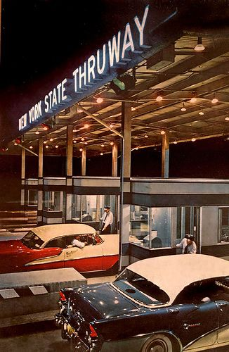 New York State Thruway, c.1950s. #vintage #1950s #cars