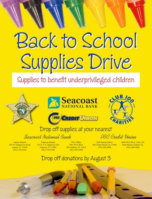 Back to School Supplies Drive Poster.