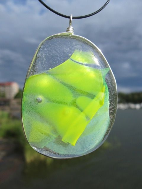 Recycled glass glass pendant #uniquedesignbymaria