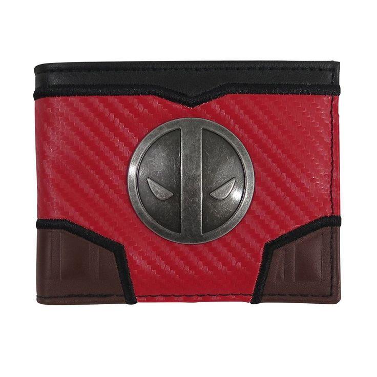 Deadpool Metal Symbol Carbon Fiber Bi-Fold Wallet-Front View