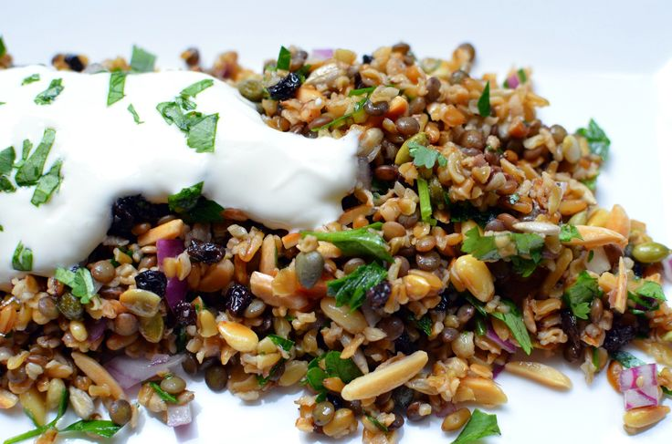 cypriot grain salad with freekeh, nuts, lentils, honey, spices...topped with yogurt #Mediterranean #healthy #Cyprus