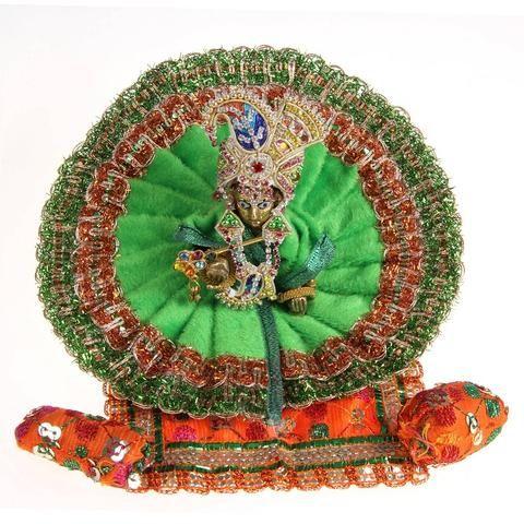 Poshak   Vastra   Shringar set for bal gopal/lord krishna/thakorji from MuHeNeRa   Sa1green 1) Laddu Gopal 7cm x 4  5 cm x 4  5cm   sitting pose 2)  Poshak - 17 cm dia 3) Mukut 4) Necklace 1 5) A pair of Bangle 6) Tikka 7) Bansi (flute) 8) orange bed sheet 9) Matching Cushion  10) 2 round Pillows