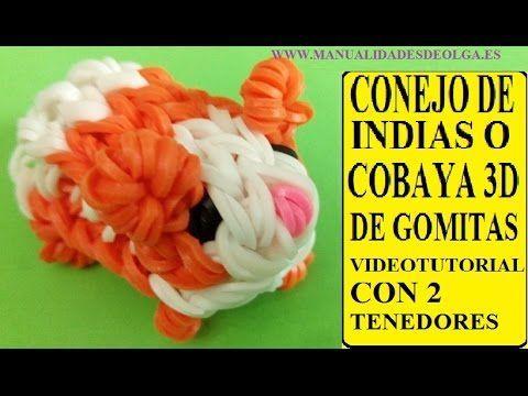 COMO HACER UN CONEJITO DE INDIAS O COBAYA 3D DE GOMITAS CON DOS TENEDORES. figura ligas Hamster - YouTube