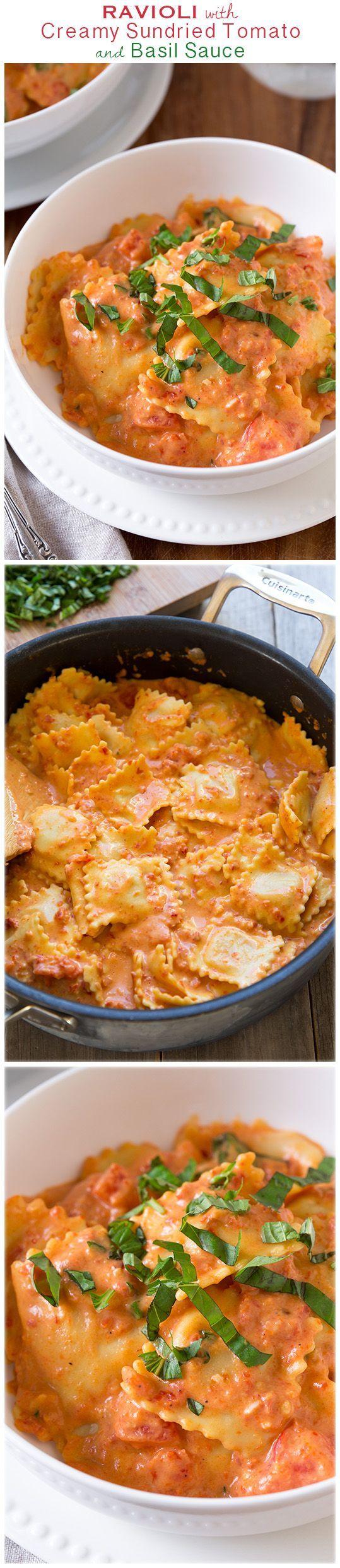 Ravioli with Creamy Sundried Tomato and Basil Sauce - this was ...
