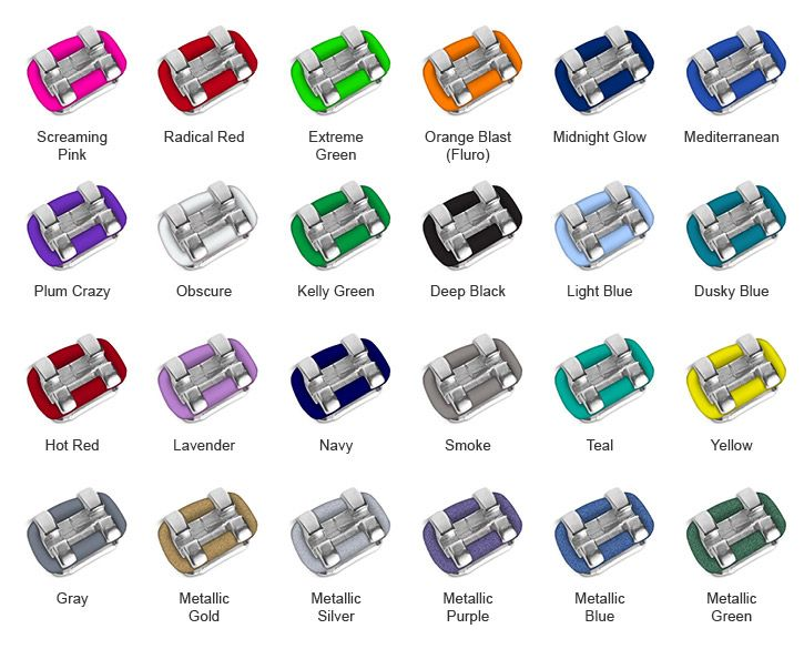 Colours of braces ties. ** I used to love wearing different colours depending on the time of year/occasion.