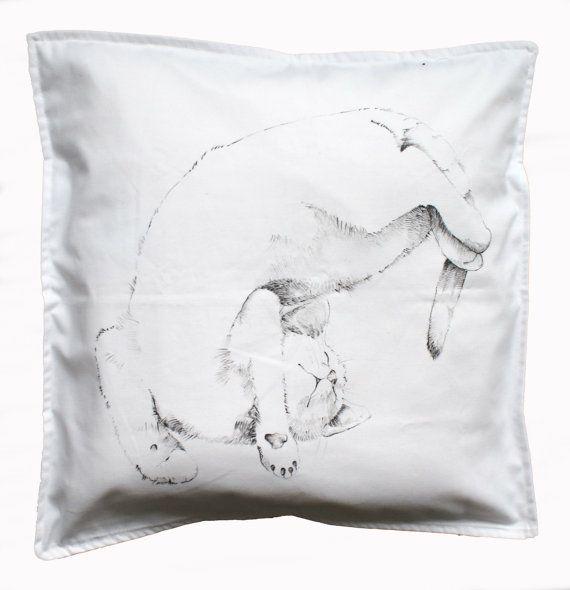 Kitten pillow cover throw pillow black cat white pillow handpainted ecofriendly custom