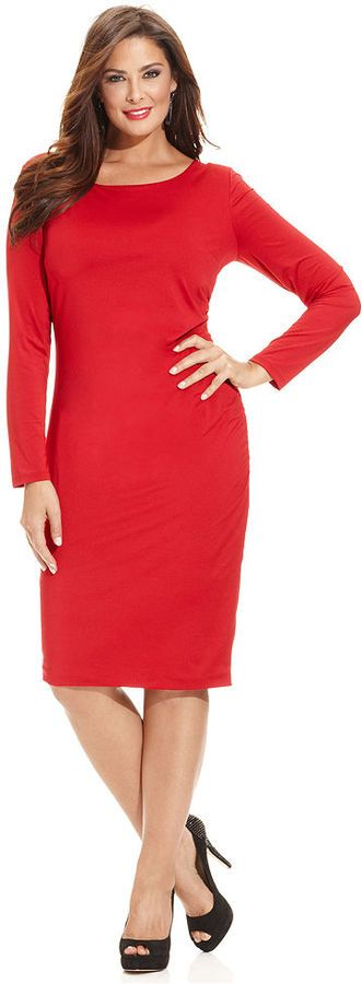 Plus Size Dress for Valentine's Day  #plus #size #fashion #blog #fatshion #valentinesday #red #dress #curvy  #plussizze www.bigcurvylove.com plus size blog  INC International Concepts Plus Size Long-Sleeve Bodycon Dress
