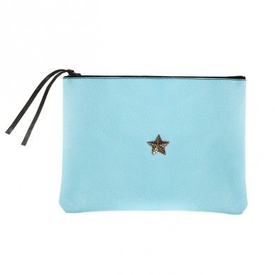 Light-Blue Star Pouch Genuine Leather - Made in Italy