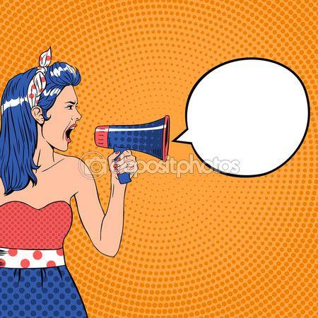 Pop art girl with speech bubble and megaphone. Retro vector illustration — Illustration #91155414