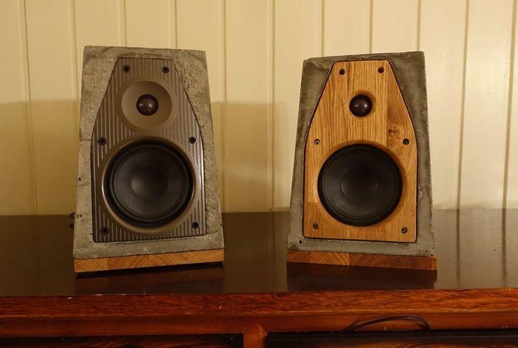 Concrete, oak speaker with chromcast audio, wireless