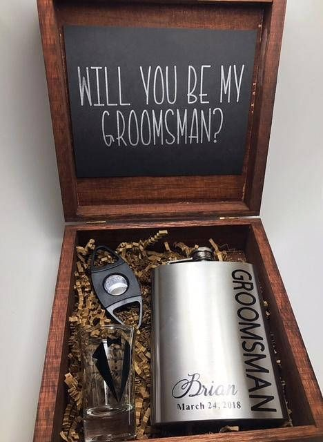Groomsman Gift ** Will you be my Groomsman ** Groomsman Proposal **Also comes in Best Man, Officiant, Usher** Looking for the perfect way to ask your buddies to be in your wedding? This groomsman box comes with everything they could want! Personalized Flask (permanent vinyl)