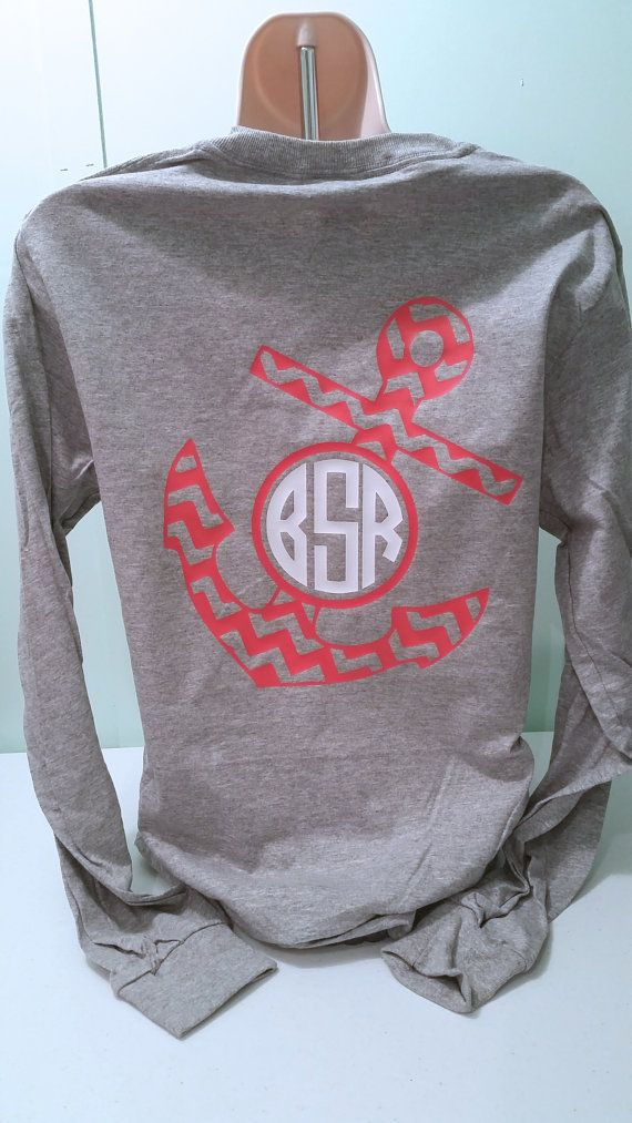 Monogrammed Chevron Anchor Long Sleeve Shirt by ElleQDesigns