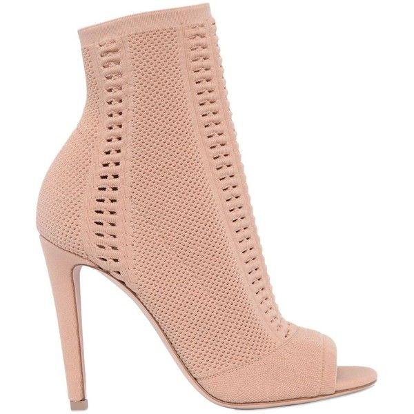Gianvito Rossi Women 100mm Stretch Knit Open Toe Booties ($1,015) ❤ liked on Polyvore featuring shoes, boots, ankle booties, nude, high heel boots, slip on boots, open-toe boots, open toe high heel booties and gianvito rossi boots