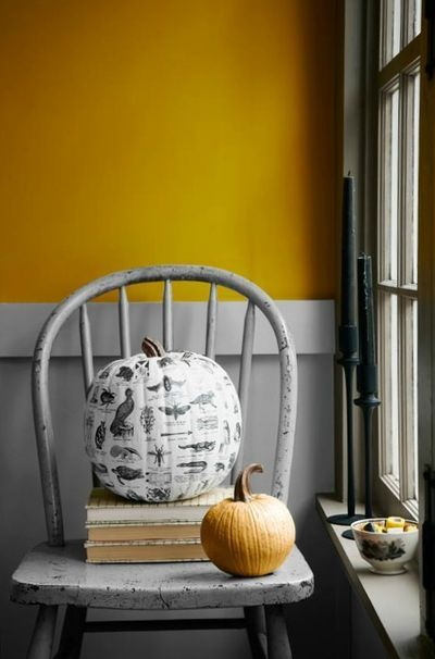 The folks at Country Living did an amazing decoupage job on this pumpkin, using 120 photocopied images from Pictorial Webster's, a visual dictionary of curiosities.