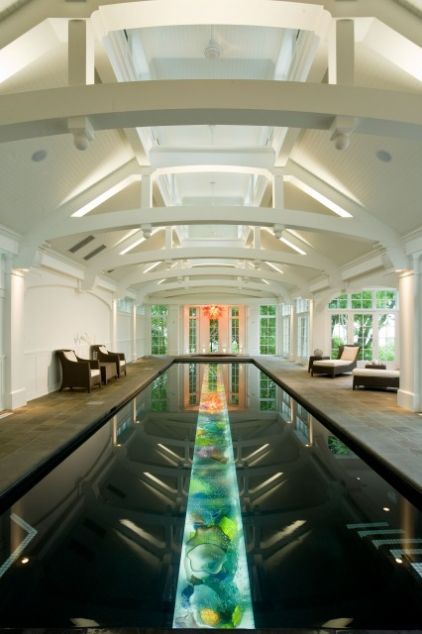 A trough filled with art glass at the bottom of the pool makes the coolest most original lane - Glass bottom pool ...