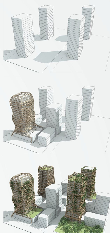 Bamboo Forest : Une structure de bambou pour envelopper les immeuble                                                                                                                                                                                 More