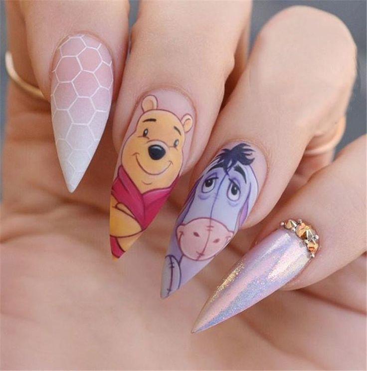 Disney Stiletto Nails; Süße Stiletto-Nägel; Stiletto Sargnägel; Einfach Stil … – Nagel Ideen