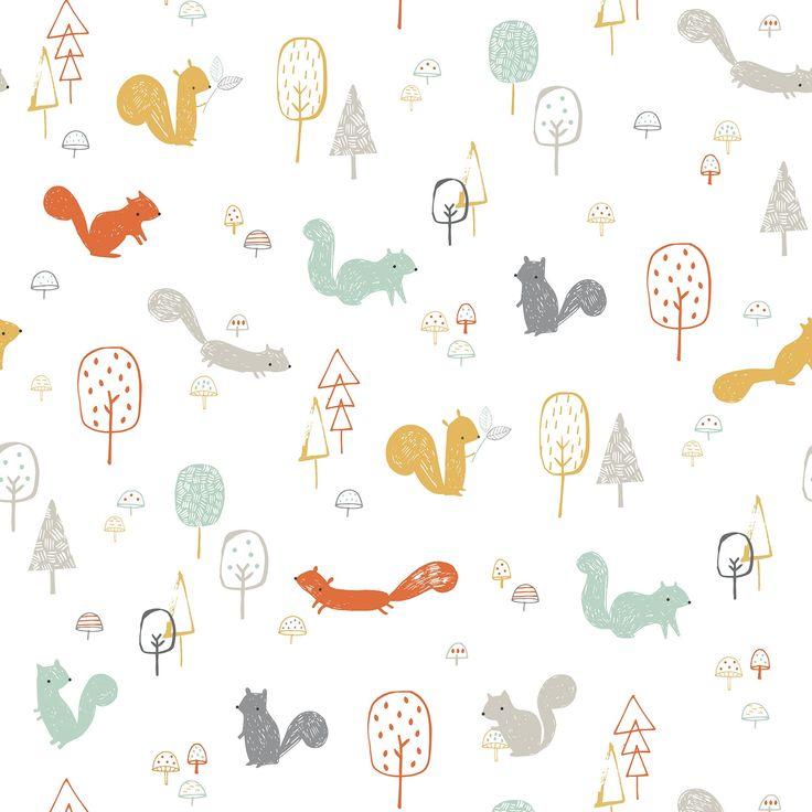 Papier peint squirrels wood Woodland by Lizzie Mackay : Lilipinso - Papier peint à dessins - Berceau Magique