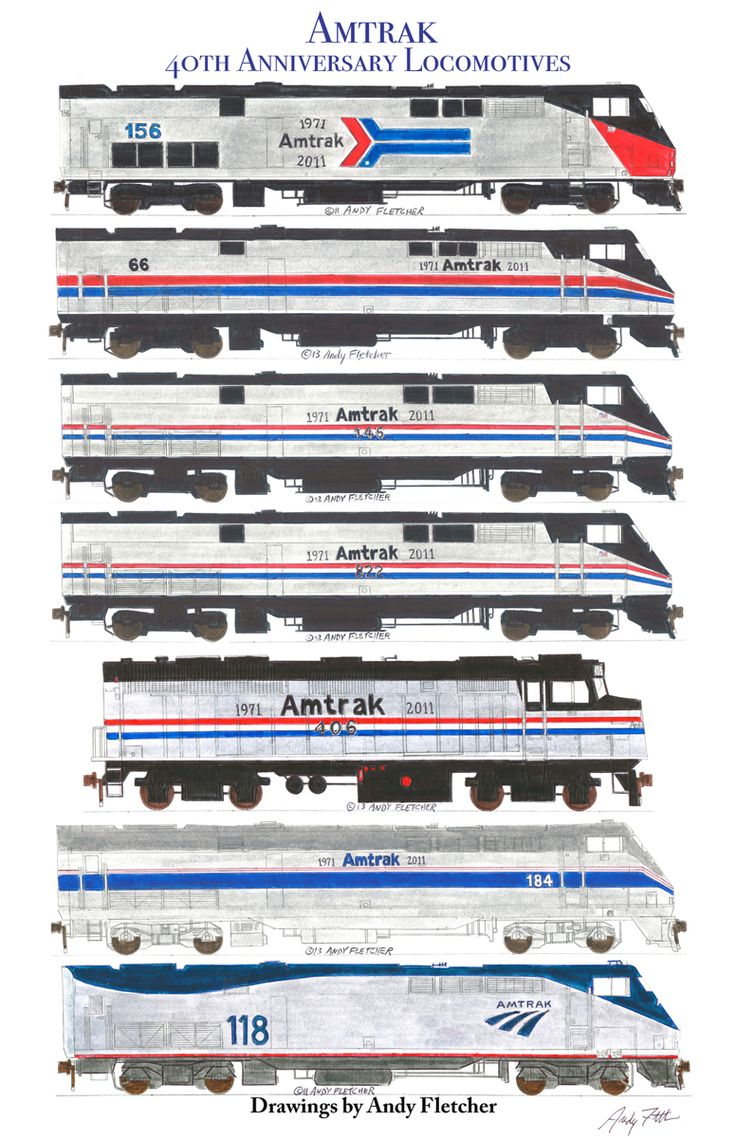 7 hand drawn Amtrak 40th Anniversary locomotive drawings by Andy Fletcher