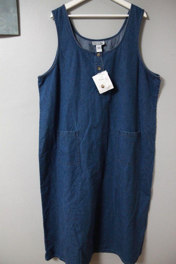 August Max Woman Denim Jumper Dress NWT Sz 22W WOmens Plus Modest Jeans Blue #AugustMax #Jumper