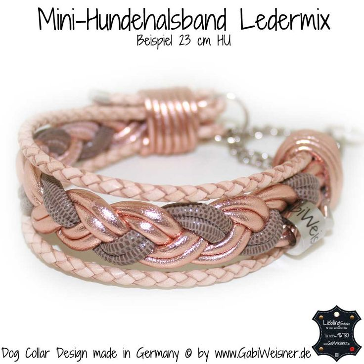 Mini-Halsband Leder Mix in Puderfarben