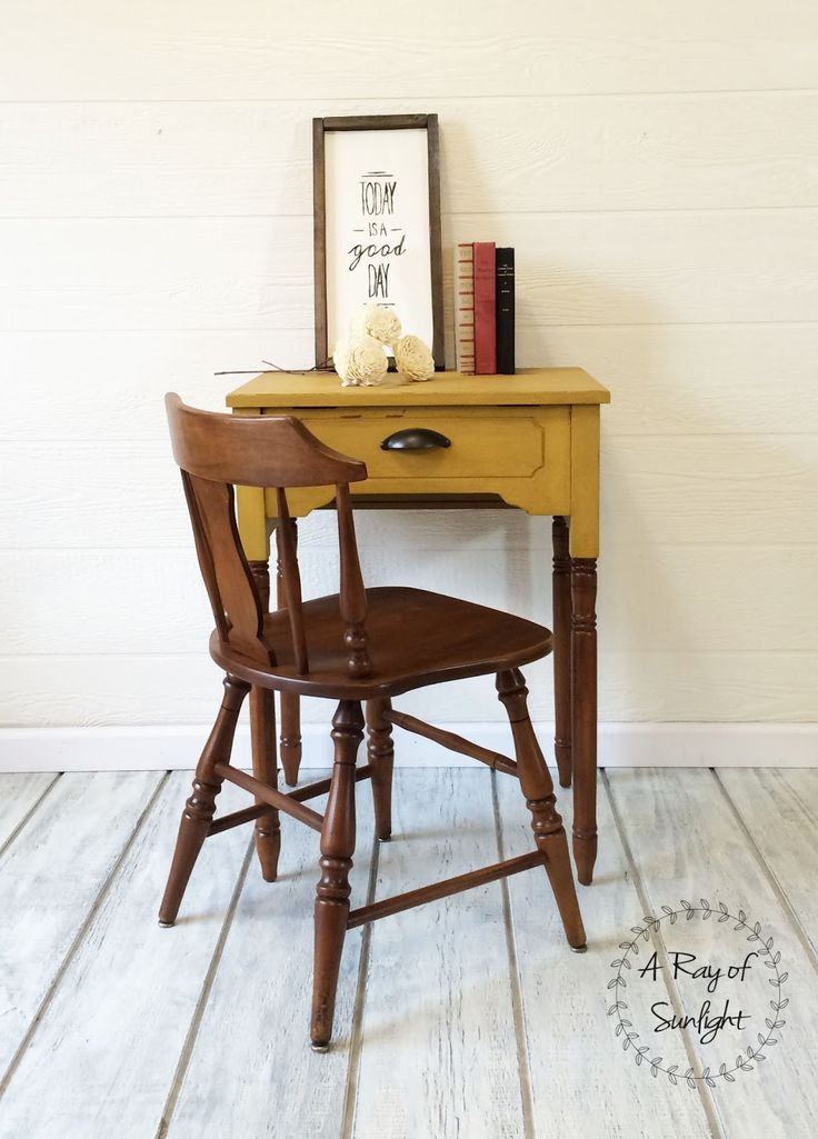 ... A Sewing Desk Into A New And Improved Writing Desk / Nightstand / Entry  Table. With A Two Toned Look, Painted Top With Milk Paint And Gel Stained  Legs.