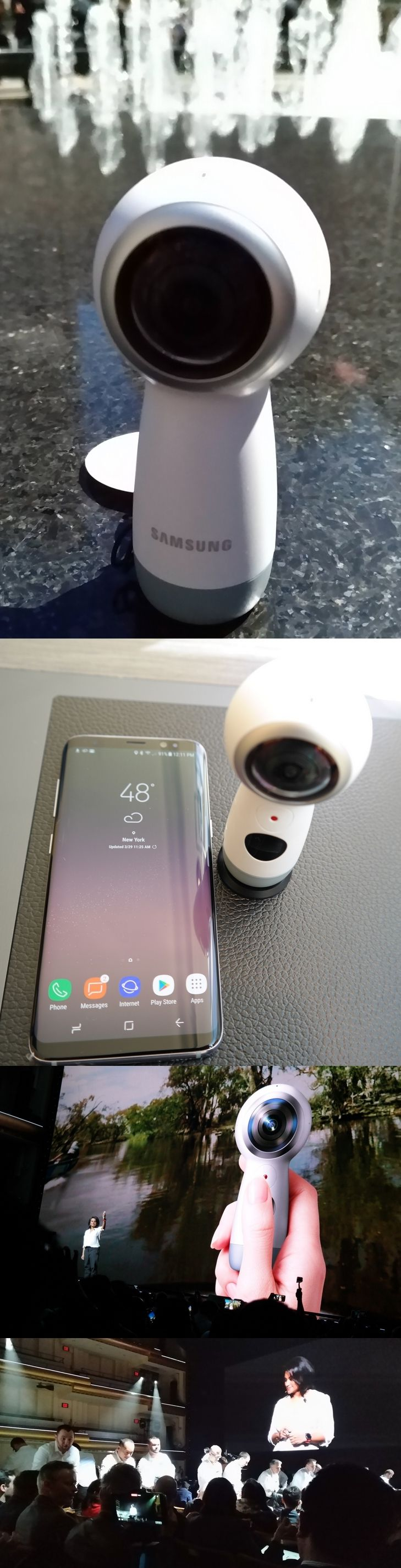 The @SamsungMobileUS Gear 360 had an Oprah moment March 29 as the new 360-degree live-streaming video camera was doled out to surprised guests at its #Unpacked2017 press event for the Galaxy S8 and S8+ smartphones. It has two f/2.2 lenses, 8.4-megapixel sensors, supports 4K-resolution and links via Wi-Fi, Bluetooth or USB-C cable. Unlike its older round sibling, it has a handle. Users can live stream on Facebook, YouTube and Samsung VR. Videos can be converted to other formats for sharing.