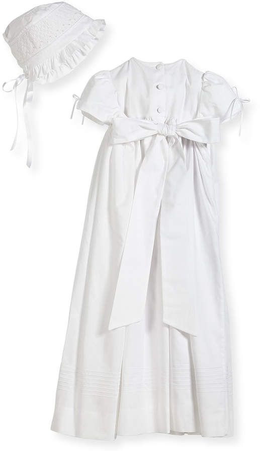 6f4c0fb18515 Isabel Garreton Pearls Smock Embroidered Cotton Christening Gown w/ Bonnet,  White, Size 6-12 Months #Smock#Embroidered#Cotton
