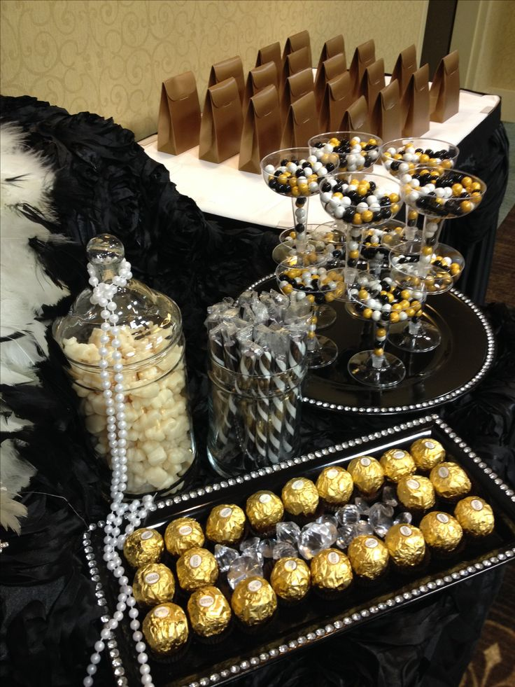 Black, Gold and Ivory candy buffet