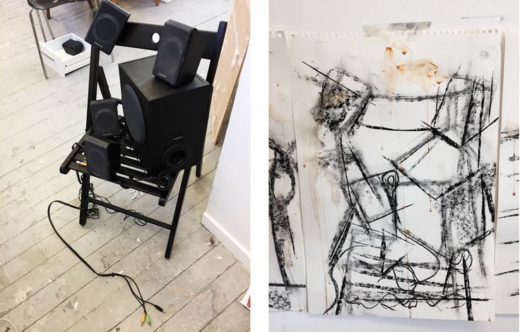 30.11.17 - Interpretation of the space of the objects.  1x black wooden folding chair 1x large speaker 4x small speakers Shadows & Shape & linear qualities.  Drawn to using wires as the 'alien' material