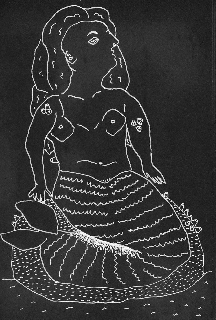 "Emma Minkley - ""Barnacle Mermaid"" (2015). White marker on black card."