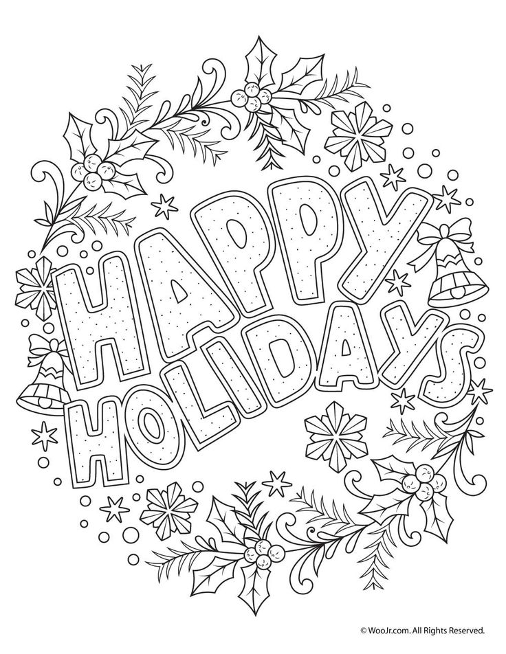 Happy Holidays Adult Coloring Freebie | holidays ...