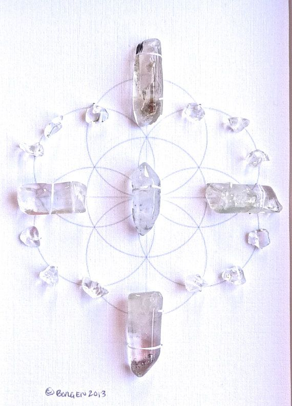 Quartz crystal grid with sacred geometry