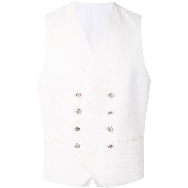 Tagliatore double breasted vest (€340) ❤ liked on Polyvore featuring men's fashion, men's clothing, men's outerwear, men's vests, white, mens white vest, mens vest, mens double breasted vest and mens vest outerwear