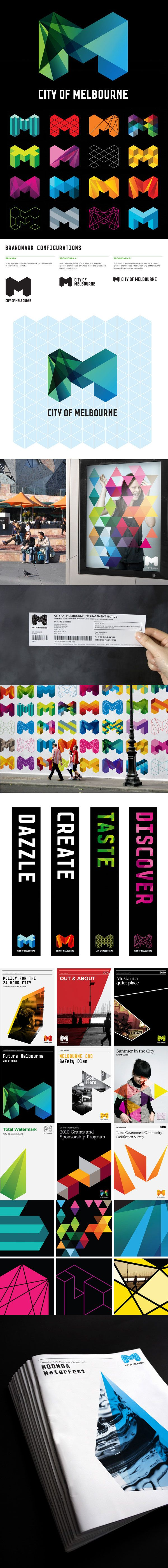 Identity for Melbourne by Sydney office of Landor. This rebranding for the city of Melbourne is eye catching and visually appealing. The geometric shape of the logo and how it is formed gives way to many variations, which in this case is a very efficient way of re-branding Melbourne without creating 50 logos.